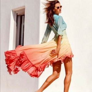VICI Wavelength Rainbow Tiered High Low Maxi Dress